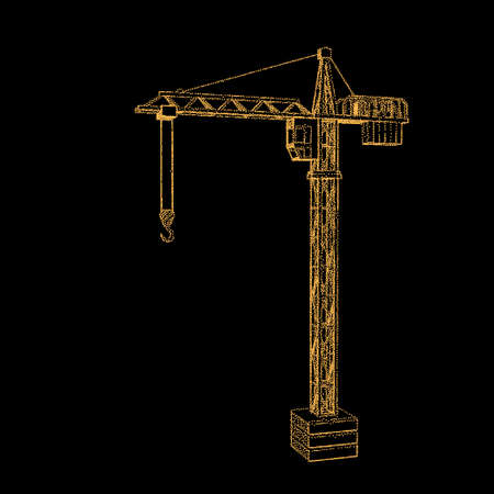Tower crane. Isolated on black background. Vector illustration. Pointillism style.
