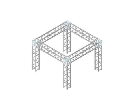 Costruzione a traliccio. Isolato su sfondo bianco. illustrazione vettoriale 3D. Proiezione isometrica. Vettoriali