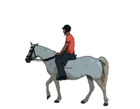 jokey on horse. Isolated on white background. Vector illustration. Pointillism style.