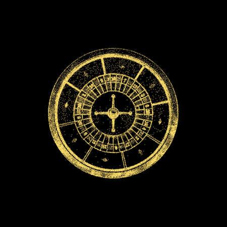 Casino-Roulette-Rad. Auf schwarzem Hintergrund isoliert. Vektor-Illustration. Pointillismus-Stil.