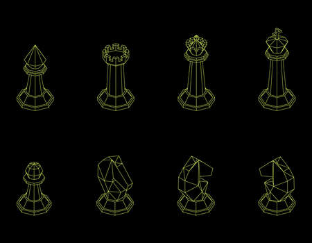 Chess pieces. Isolated on black background. Vector outline illustration. Isometric projection. Illustration