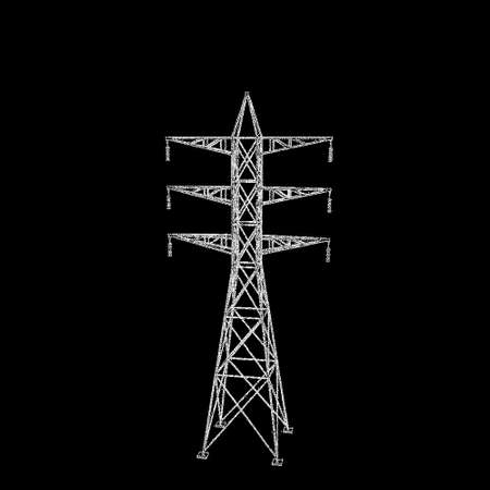 Power transmission tower. Isolated on black background. Vector illustration. Pointillism style. Vector Illustration