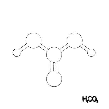 Carbonic acid model molecule. Isolated on white background. Sketch illustration. 版權商用圖片