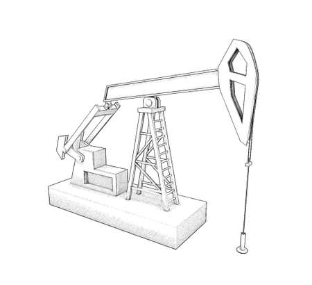 Oil pump jack.Isolated on white background. Sketch illustration. Stock Photo