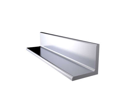 Metal profile angle. Isolated on white background.3D rendering illustration.