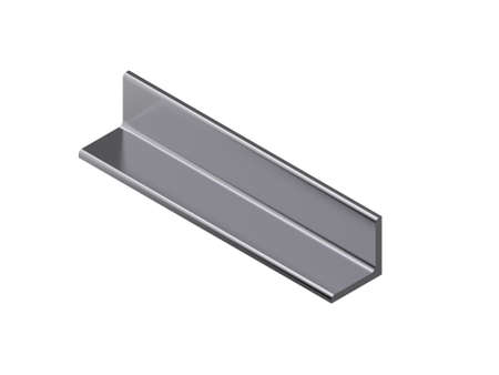 Metal profile angle. Isolated on white background. 3D rendering illustration. Isometric projection. Stock Photo
