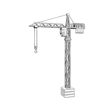 Tower crane. Isolated on white background.Sketch illustration. Stockfoto
