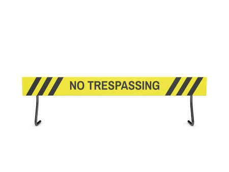 No Trespassing sign. Isolated on white background. 3D rendering illustration. Front view. Stock Photo