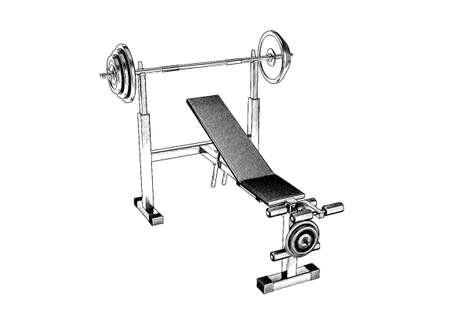 Exercise machine.Isolated on white background. Sketch illustration. Stock Photo