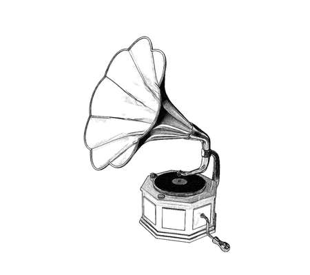 Gramophone.Isolated on white background.Sketch illustration.