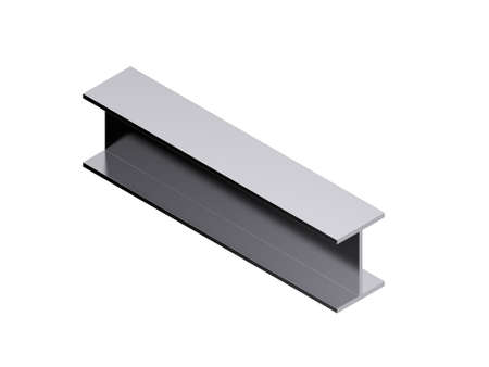 Metal profile h-beam. Isolated on white background. 3D rendering illustration. Isometric projection.