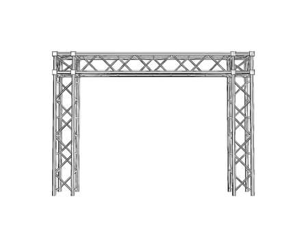 Truss construction. Isolated on white background. Sketch illustration.