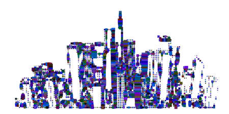 Abstract city. Isolated on white background. Vector illustration. Halftone pixel style.