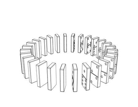 Circle of dominoes. Isolated on white background.Vector outline illustration. Stock Illustratie