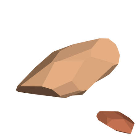 Polygonal stone.  Isolated on white background. 3d Vector illustration. Isometric view. Imagens - 109498069