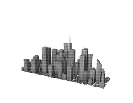 3D model of city. Isolated on white background. Vector illustration. Halftone style.
