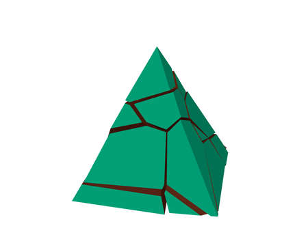 Broken pyramid. Isolated on white background. 3d Vector illustration. Banco de Imagens - 110022026