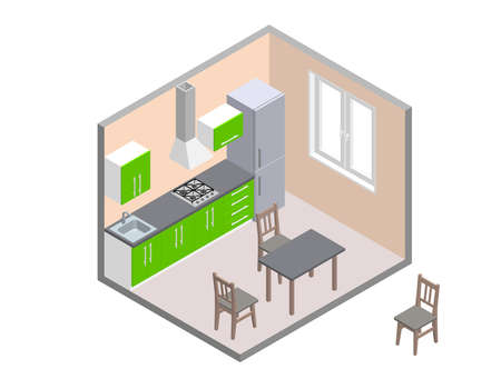 Interior kitchen room. 3d Vector illustration. Isometric projection.