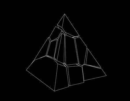 Broken pyramid. Isolated on black background. Vector outline illustration.