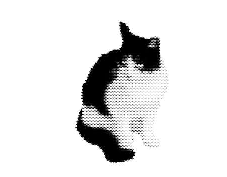 Cat. Isolated on white background. Vector illustration. Halftone style.
