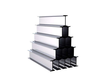 Metal profile i-beam stack. Isolated on white background. 3D rendering illustration. Stock Photo