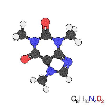 Caffeine model molecule. Isolated on white background. Sketch illustration.
