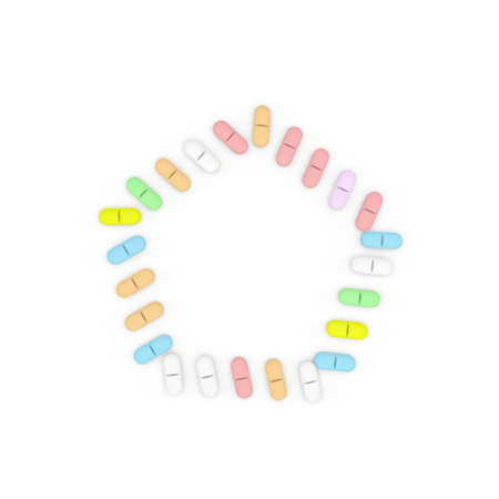 Color Pills frame. Isolated on white background. Pentagon.3D rendering illustration.