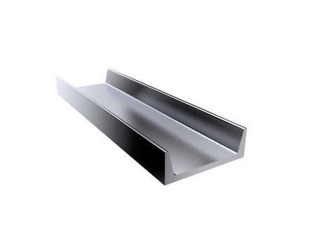 Metal profile channel. Isolated on white background. 3D rendering illustration. Stock Photo