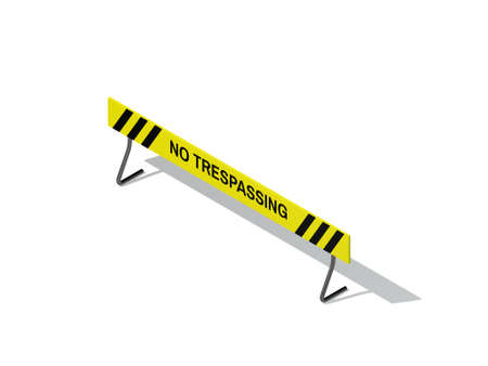No Trespassing sign. Isolated on white background. 3D rendering illustration. Isometric projection. Stock Illustration - 110851967