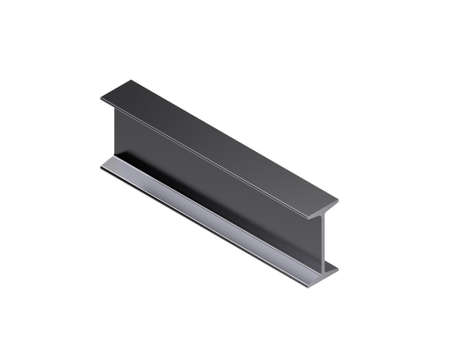 Metal profile i-beam. Isolated on white background. 3D rendering illustration. Isometric projection.