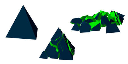 Stages of destruction of pyramid. Isolated on white background. 3d Vector illustration. Illustration