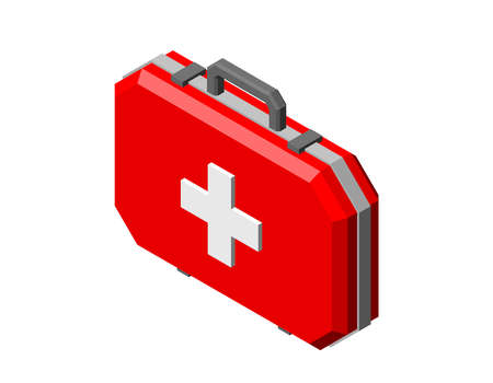Medical bag. Isolated on white background. 3d Vector illustration. Isometric projection.