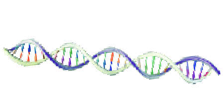 Abstract DNA spiral. Isolated on white background. Vector illustration. Halftone style.
