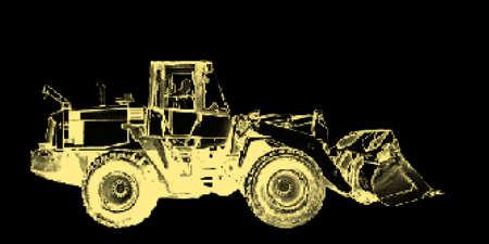 Bulldozer. Isolated on black background. Vector illustration. Halftone style.