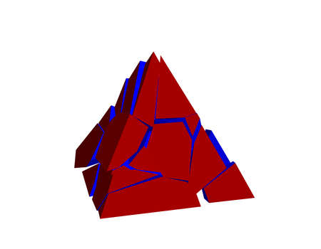Broken pyramid. Isolated on white background. 3d Vector illustration.