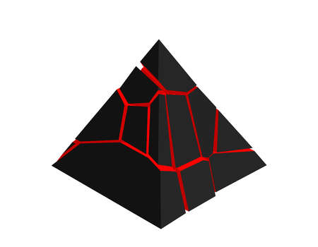 Broken pyramid. Isolated on white background. 3d Vector illustration. Isometric projection.