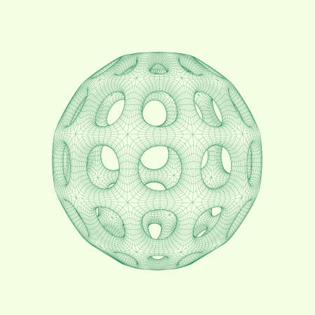 Abstract sphere with holes. Vector wireframe illustration. Illustration