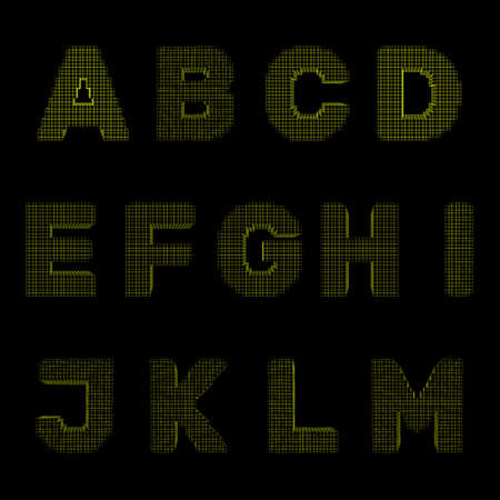 3d pixelated capital letter set.Isolated on black background.Vector outline illustration.Front view.