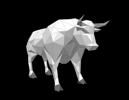Abstract polygonal bull. Isolated on black background. 3d Vector illustration. Illustration