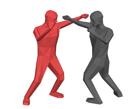 Low poly men fighting. Isolated on white background. 3d vector illustration. Illusztráció