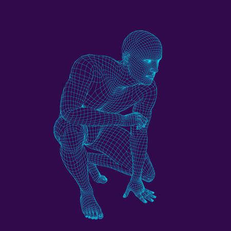 Man sitting on the ground. Wireframe human body. Vector outline illustration. Ilustração
