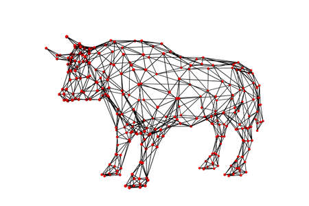Abstract polygonal bull. Molecular lattice. Isolated on white background. 3d Vector illustration. Side view.