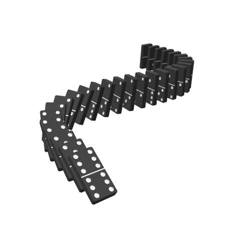 Falling dominoes. Isolated on white background.3d Vector illustration.