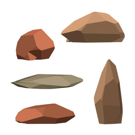 Polygonal stone set. Isolated on white background.3d Vector illustration.