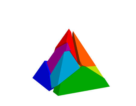 Broken pyramid. Isolated on white background. 3d Vector colorful illustration. Stock fotó - 112654099