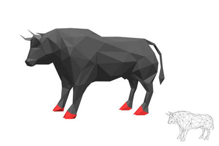 Abstract polygonal bull. Isolated on white background. 3d Vector illustration. Illustration