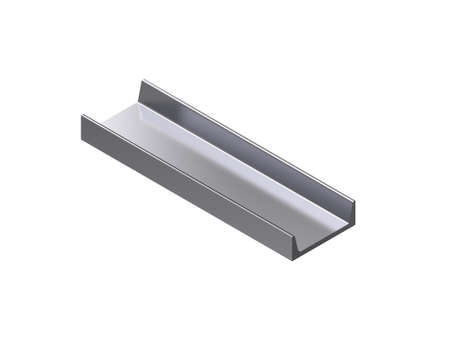 Metal profile channel. Isolated on white background. 3D rendering illustration. Isometric projection. Stock Photo
