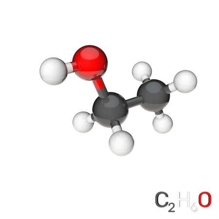 Ethanol model molecule. Isolated on white background. 3D rendering illustration.