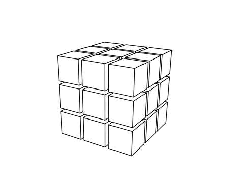 Abstract 3d cube from cubes. Isolated on white background. Vector outline illustration. Illusztráció