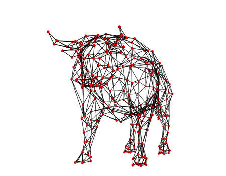 Abstract polygonal bull. Molecular lattice. Isolated on white background. 3d Vector illustration. Front view. Archivio Fotografico - 114844588